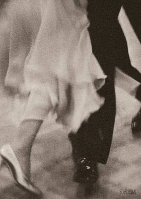 Sepia Tone Photograph - Couple Ballroom Dancing Legs by Beverly Brown
