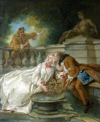 Relaxing Drawing - Couple Called Fete Champetre, 1730 by Jean-Baptiste Joseph Pater