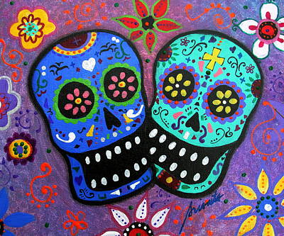 Painting - Couple Dia De Los Muertos Lovers by Pristine Cartera Turkus
