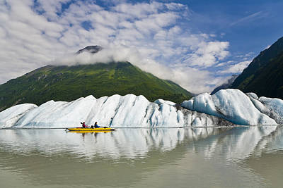 Inflatable Photograph - Couple Exploring Valdez Glacier Lake In by Michael DeYoung