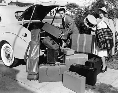 Photograph - Couple Going On Vacation by Underwood Archives