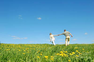 Run Photograph - Couple Having Fun by Michal Bednarek