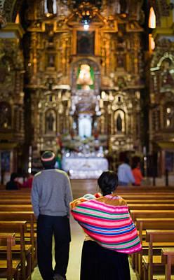 Cholitas Photograph - Couple In A Church by Pedro Nunez