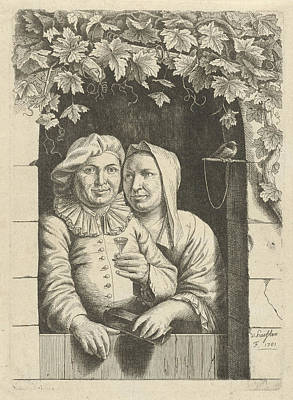 Glass Bottle Drawing - Couple In A Doorway, Nicolaes Van Haeften by Nicolaes Van Haeften