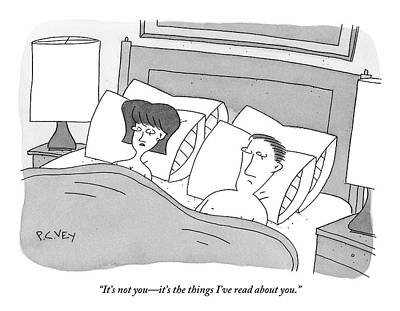 Couple Sex Drawing - Couple In Bed. Woman Is Talking To Man by Peter C. Vey