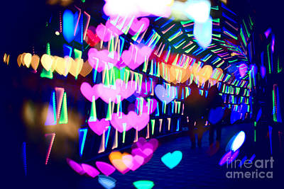 Couple In Colorful Light Tunnel With Hearts And Triangles Art Print by Beverly Claire Kaiya