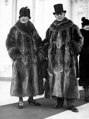 Couple In Coonskin Coats Print by Underwood Archives