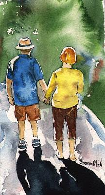 Painting - Couple In Love Walking Away Iphone Case by Sharon Mick