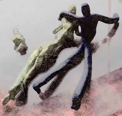 Plastic Models Digital Art - Couple In Love And Pet by Florin Birjoveanu