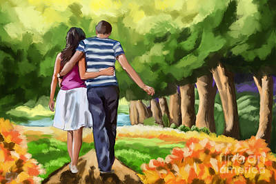 Painting - Couple In The Park 01 by Tim Gilliland
