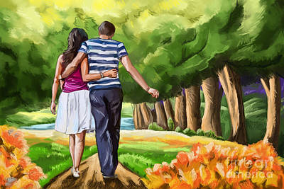 Painting - Couple In The Park 02 by Tim Gilliland