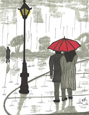 Rain Drawing - Couple In The Rain by Ray Ratzlaff