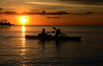 Couple Kayaking At Beautiful Sunset At Tropical Location Of Florida Keys. Original