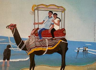 Couple On Camel Art Print