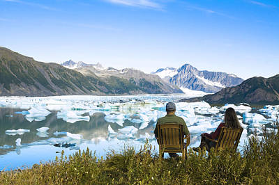 Alaska Photograph - Couple Relaxing Along Bear Glacier Lake by Michael DeYoung