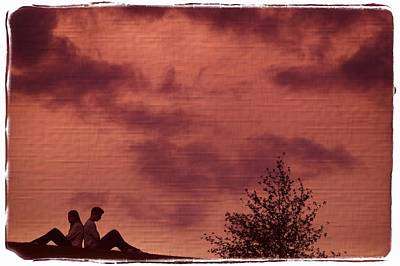 Couple Sitting Back To Back Art Print