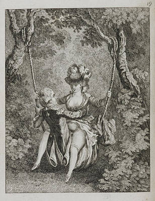 Couple Swinging On A Swing Print by British Library