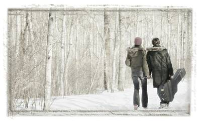 Couple Walk With Guitar Art Print