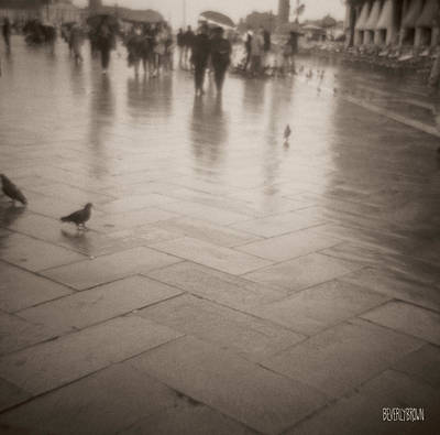 Sepia Tone Photograph - Couple Walking In The Rain San Marco by Beverly Brown