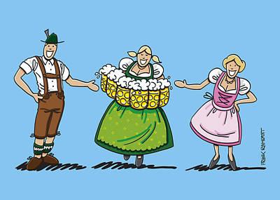 Oktoberfest Drawing - Couple Welcomes Oktoberfest Beer Waitress by Frank Ramspott