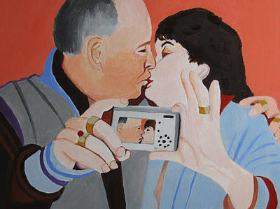 Husband And Wife Painting - Couple With Camera by Toni Silber-Delerive