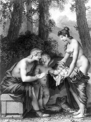 Male Nude Drawing Photograph - Couple With Cupid, 1796 by Science Source