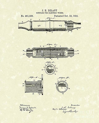 Drawing - Coupler 1891 Patent Art by Prior Art Design