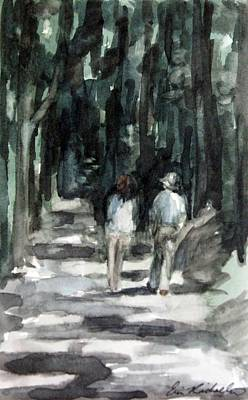Painting - Couple's Lighted Path by Erin Rickelton
