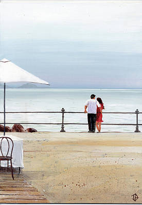 Contemporary Beach Painting - Couple's Retreat by P.s. Art Studios