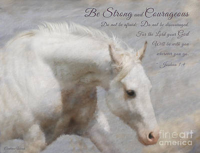 9 Horses Digital Art - White Horse Courage  by Constance Woods