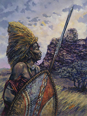 African Men Painting - Courage by Dennis Goff