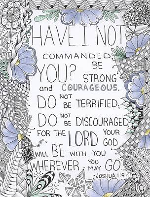 Zentangle Mixed Media - Courage Quote by Cathy Cusson