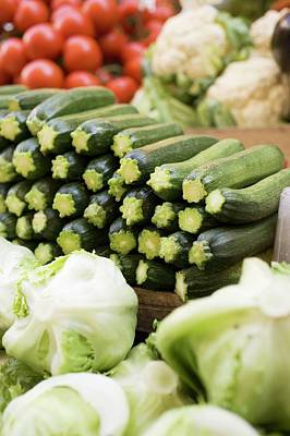 Courgettes, Lettuces, Cauliflowers And Tomatoes At A Market Art Print