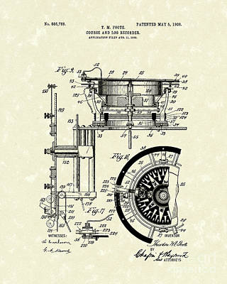 Data Drawing - Course And Log Recorder 1908 Patent Art by Prior Art Design