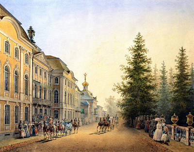 Horse And Carriage Painting - Court Departure At The Main Entrance Of The Great Palace by Vasili Semenovich Sadovnikov