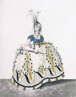 Royal Court Drawing - Court Dress, Fig No.130 From The by Nicolaus von Heideloff