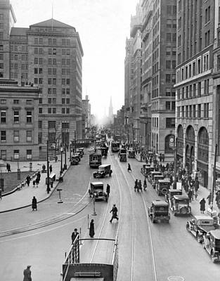 America The Continent Photograph - Court Street In Brooklyn  by Underwood Archives