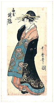 Courtesan Takihashi Ogi-ya 1800 Art Print by Padre Art