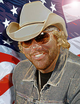 Courtesy Of The Red White And Blue  Toby Keith Art Print by Don Olea