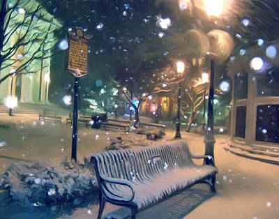 Bellefonte Wall Art - Mixed Media - Courthouse Bench In Snow by Mary Vollero