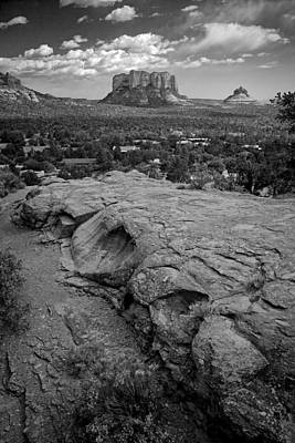 Art Print featuring the photograph Courthouse Butte In Sedona Bw by Dave Garner
