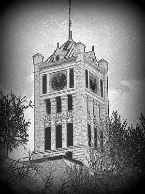 Mix Medium Drawing - Courthouse Clocktower 5 by Mark Herman