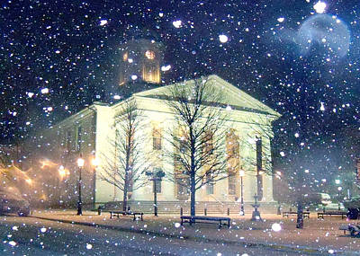 Bellefonte Wall Art - Photograph - Courthouse In Snow by Mary Vollero