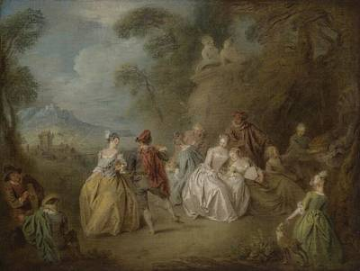 Park Scene Painting - Courtly Scene In A Park, C.1730-35 by Jean-Baptiste Joseph Pater