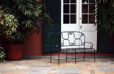 Photograph - Courtyard Bench by John Rizzuto