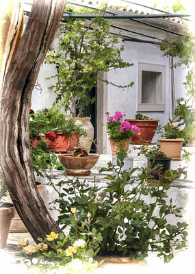 Photograph - Painted Effect - Courtyard by Susan Leonard