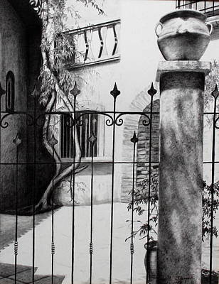 Courtyard In Sedona Art Print by M Diane Bonaparte