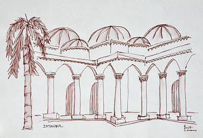 Pen And Ink Drawing Photograph - Courtyard In The Topkapi Palace by Richard Lawrence