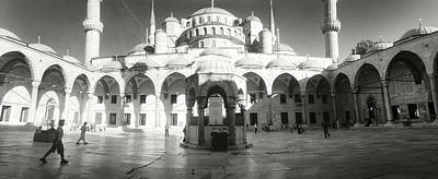 Courtyard Of Blue Mosque In Istanbul Art Print by Panoramic Images
