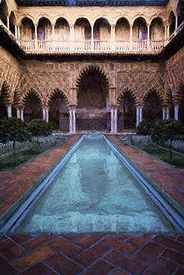 Courtyard Of The Maidens Art Print by Joan Carroll